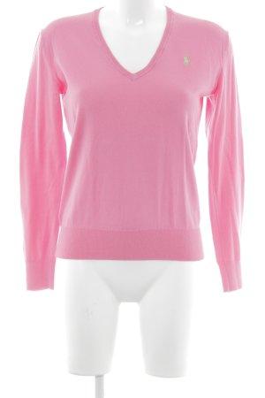 Polo Ralph Lauren V-Ausschnitt-Pullover neonpink Webmuster Casual-Look