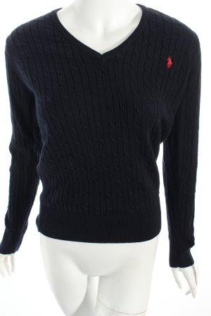 Polo Ralph Lauren V-Ausschnitt-Pullover rot-dunkelblau sportlicher Stil