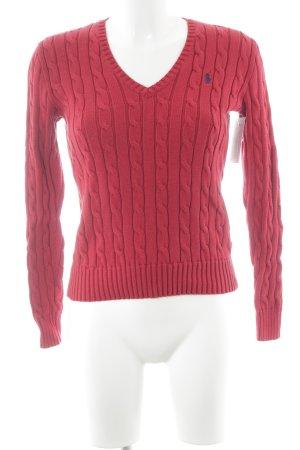 Polo Ralph Lauren V-Ausschnitt-Pullover rot Zopfmuster Casual-Look