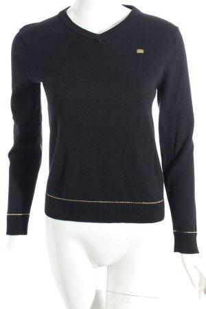 Polo Ralph Lauren V-Ausschnitt-Pullover schwarz Retro-Look