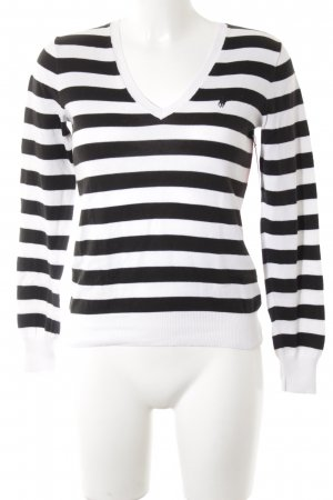 Polo Ralph Lauren V-Neck Sweater black-white striped pattern casual look