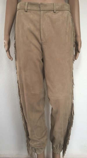 Polo Ralph Lauren, Velourslederhose mit Fransen, Tan/Natural, 32 (US 2), neu, € 1.500,-