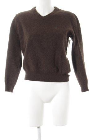 Polo Ralph Lauren Jersey de lana marrón oscuro moteado estilo sencillo