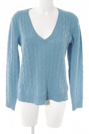 Polo Ralph Lauren Wollpullover kornblumenblau Zopfmuster Casual-Look