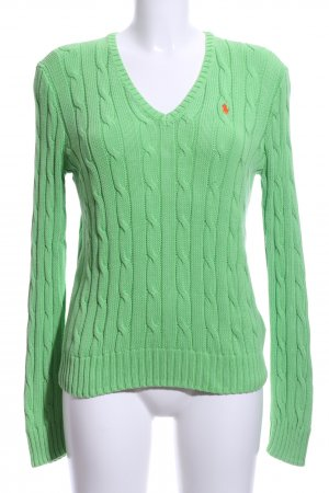 Polo Ralph Lauren Zopfpullover grün Zopfmuster Casual-Look