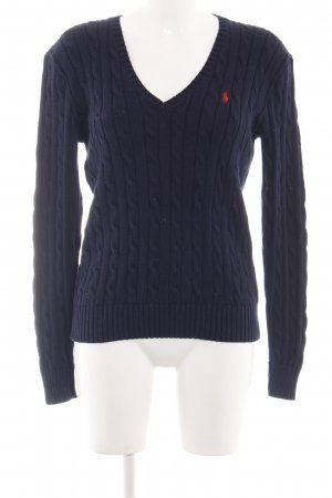 Polo Ralph Lauren Cable Sweater blue-red cable stitch casual look