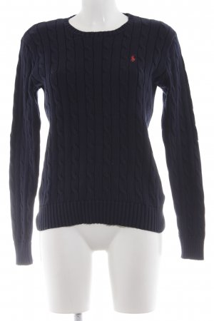 Polo Ralph Lauren Cable Sweater dark blue cable stitch casual look