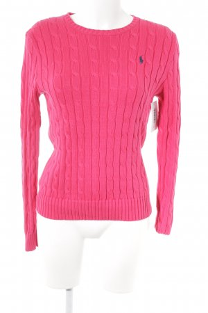 Polo Ralph Lauren Cable Sweater magenta cable stitch casual look