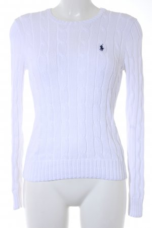 Polo Ralph Lauren Pull torsadé blanc-bleu foncé torsades style décontracté