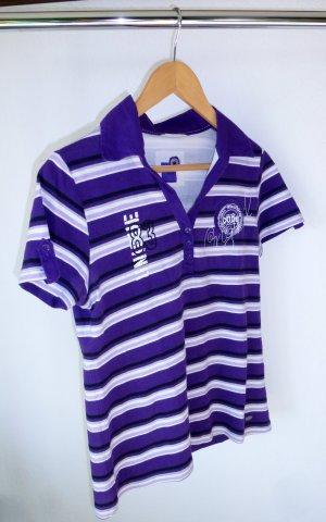 Polo-Shirt, gestreift, mit Stoffkragen & Stickerei