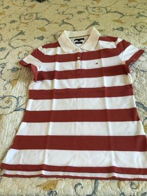 Polo-Shirt Gr. L gestreift weiß-terrakotta