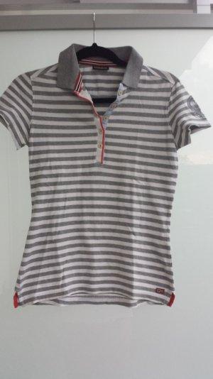 Polo Shirt grau weiß gestreift