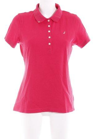 Polo-Shirt magenta-gelb sportlicher Stil