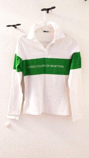 Polo-Shirt mit langen Ärmeln von BENETTON, weiss/grün, Gr. S