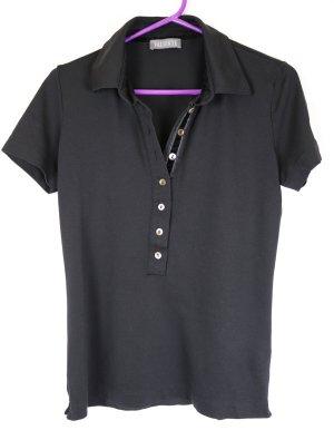 Valiente Camiseta tipo polo negro-lila tejido mezclado