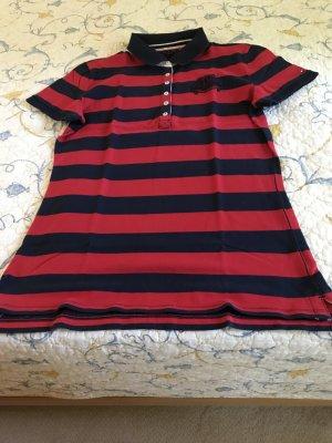 Polo-Shirt Tommy Hilfiger Gr. 40, gestreift-navy-kirschrot