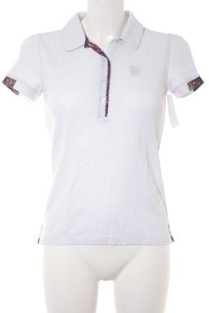 Polo-Shirt weiß-silberfarben sportlicher Stil