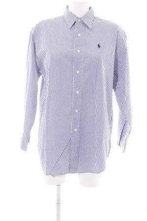 Polo Sport Shirt met lange mouwen blauw-wit gestreept patroon casual uitstraling
