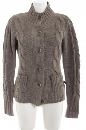 Polo sylt Coarse Knitted Jacket brown cable stitch casual look