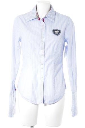 Polo sylt Camisa de manga larga azul claro-blanco estampado a cuadros