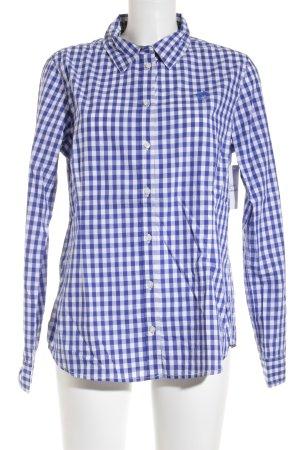 Polo sylt Langarmhemd weiß-blau Karomuster Casual-Look