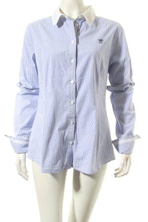 Polo sylt Langarmhemd weiß-himmelblau Streifenmuster Casual-Look