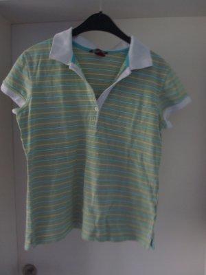 Polo-T-Shirt grün blau weiß gestreift Gr. M