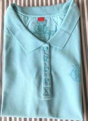 s.Oliver Polo shirt babyblauw Katoen