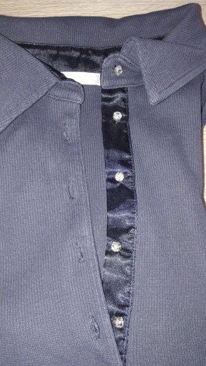 Polohemd in blau mit Glitzersteinchen