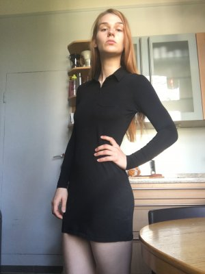 Polokleid Mini Strech Kleid schwarz asos Schulmädchen Kragen Sommer eng gossip girl Bubi