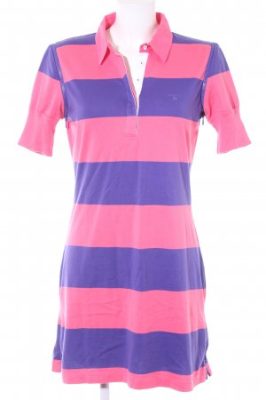 Polo Dress pink-lilac striped pattern street-fashion look