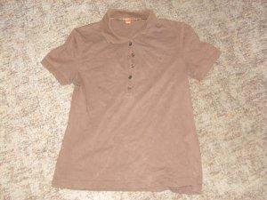 Camiseta tipo polo marrón oscuro Algodón