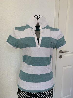 Poloshirt Hellgrün-Weiße Blockstreifen