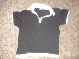 Camiseta tipo polo blanco-negro Algodón