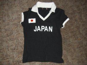 Camiseta tipo polo negro-blanco Algodón