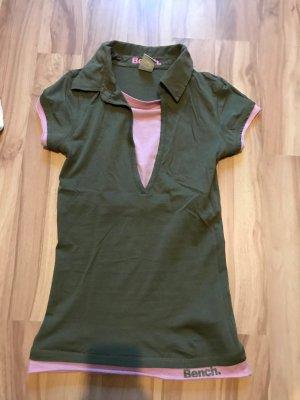 Poloshirt Oberteil T-Shirt von Bench olivgrün rosa Größe XS S 34 36 wie neu