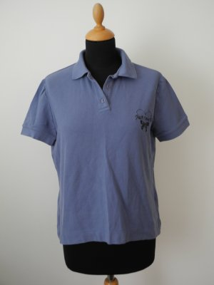 Poloshirt Shirt Polo Baumwolle  Cotton Elasthan Stretch just Roberto cavalli rauchblau blau Stickerei Logo Ton in ton