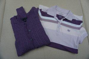 Poloshirt und Cardigan mit Zopfmuster von Tommy Hilfiger im Set lila Gr. XS