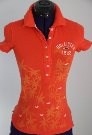 Poloshirt von Hollister XS orange mit used-look Details