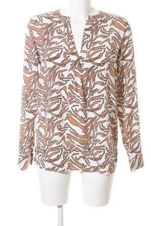 pom pom Schlupf-Bluse weiß-nude abstraktes Muster Elegant