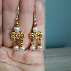 Pendientes colgante color oro-blanco metal