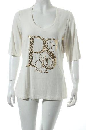 Pompöös T-Shirt creme-goldfarben Motivdruck klassischer Stil