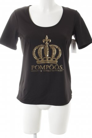 Pompöös T-Shirt schwarz-goldfarben grafisches Muster Casual-Look