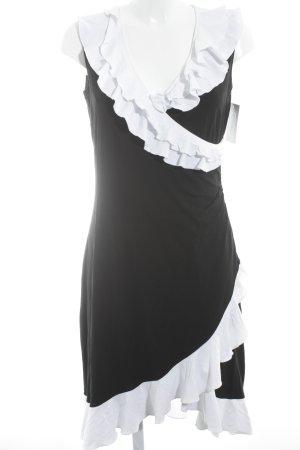 Pompöös Wickelkleid weiß-schwarz Elegant