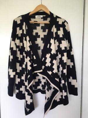 Poncho in maglia bianco-nero