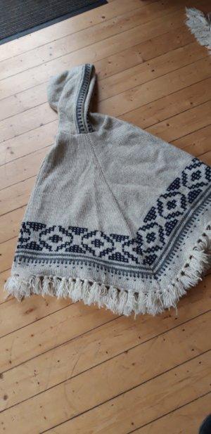 Sherpa Poncho blanco puro-azul