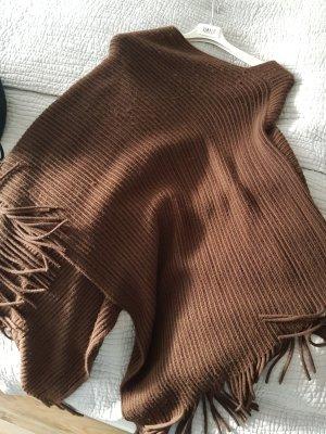 Poncho aus Wolle dunkelbraun