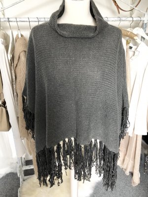 Poncho anthracite-taupe wool