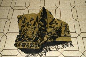 Gebreide poncho zwart-geel