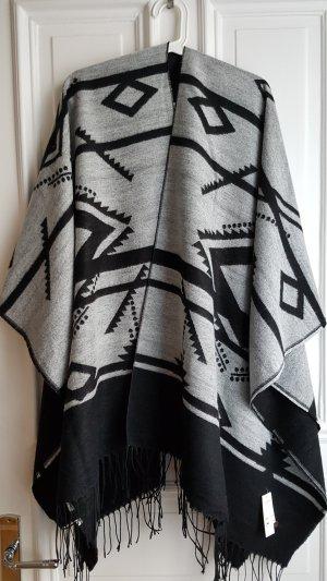 Barts Poncho zwart-grijs